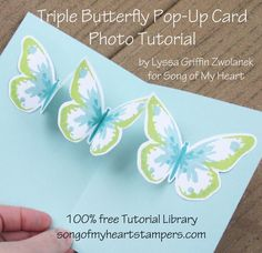 Triple Butterfly Pop Up Card tutorial Lyssa Stampin Up technique rubber stamping card ideas