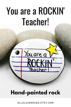This hand-painted rock tells a teacher just how great he or she is! Have it customized with a name! #teachergift #teacherpaperweight #thankyouteacher #paintedrocks #rockpainting Painted River Rocks, Hand Painted Rocks, Painted Stones, Best Teacher Gifts, Teacher Appreciation Gifts, Stone Painting, Diy Painting, Rock Painting, Bored Teachers