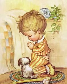 Diy full Diamond Embroidery Cute Boy Diamond Painting Cross-Stitch Portraits Wall Stickers Beadwork Kits Gift For kidsResin Cross Stitch Baby, Cross Stitch Patterns, Vintage Cards, Vintage Images, Vintage Artwork, Vintage Prints, Toddler Bedtime, Bedtime Prayer, Little Prayer