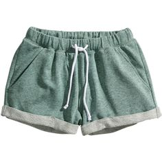 H&M Sweatshirt shorts (21 BRL) ❤ liked on Polyvore featuring shorts, bottoms, short, pajamas, green, green shorts, short shorts and h&m shorts