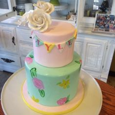 Sugar flowers, fondant pennant and hand painted flowers. Birthday cake. #peridotsweets