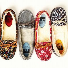 Moccasins. This company has them in so many different fabrics and theyre all fur lined!