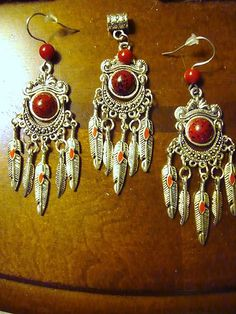 Native American red jewelry set. $23.99