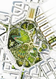 Bustler: Valencia Parque Central Proposal by West 8 - Rendered Masterplan - Holistic approach - obvious hierarchy. Plans Architecture, Landscape Architecture Drawing, Landscape Design Plans, Urban Landscape, Landscape Architects, Architecture Colleges, Architecture Diagrams, Cultural Architecture, Architecture Portfolio