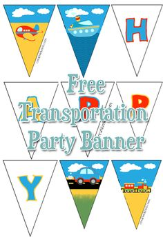 Transportation Party Pennant Banner