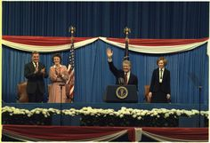 Walter Mondale, Joan Mondale, Jimmy Carter and Rosalynn Carter at the Democratic Mid-Term Convention.