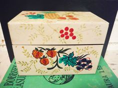 Vintage recipe box tin pineapple fruit turquoise by southcentric