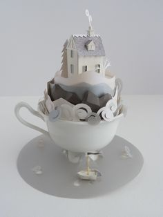 So inspiring!! Teacup with paper house hand made #handmade