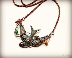 FUF 1/2/15 - Wire wrapped rusty black bird from www.bsueboutiques.com with verdigris patina