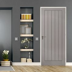 Textured Vertical 5 Panel Grey Door - Prefinished, add a pair of beautiful chrome or brass handles or door knobs to make it stand out.    #interiordesign #doors