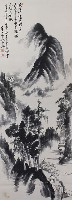 Inkwash Landscape by Tanomura Chokunyu(-1907) Hanging Scroll kakejiku
