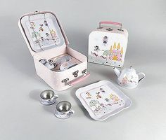 """Introducing our beautiful new 'Fairy Princess"""" design, this 7 piece tea set made of hand decorated tin makes a fabulous gift. Age Recommendation: Check out our other kids activity items! Girl Gifts, Baby Gifts, Unicorn And Fairies, Easter Gift Baskets, Picnic Set, Game Sales, Toys Shop, Miniture Things, Tea Set"""