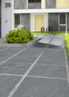 Dakota Light Grey Outdoor Riven Porcelain Slab Tiles from Tile Mountain only per tile or per sqm. Outdoor Tiles Floor, Outdoor Pavers, Outdoor Flooring, Porch Tile, Patio Tiles, Concrete Patio, Side Yard Landscaping, Modern Landscaping, Paver Designs