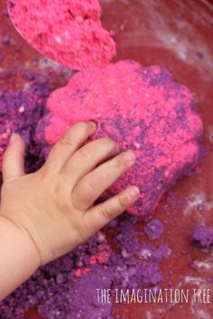 Sculpting diy moon sand: 4 cups play sand 2 cup corn flour (corn starch in US) 1 cup water 2 tbsp coloured powder paint (we divided our plain mix into two so we could make both pink and purple) huge sprinkling of glitter