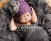 Baby Hat- Baby Girl Hat- Dusty Purple Hat with Grey Flower