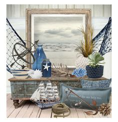 """""""Beach House Vignette"""" by ollie-and-me on Polyvore featuring interior, interiors, interior design, home, home decor, interior decorating, Ethan Allen, Zara Home, Lazy Susan and HomArt"""