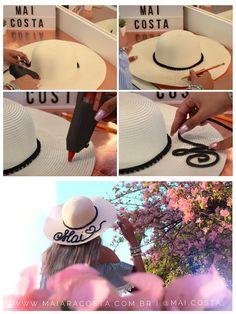 Como fazer chapéu de praia personalizado. Chapéu de praia falante, chapéu sombreiro com frases. DIY CHAPÉU.