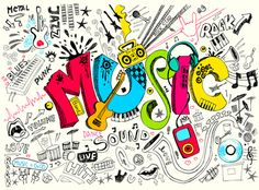 This music mural has a cool graffiti style that will let any kid or teenager express their own style, whether they like rock, punk, jazz or the blues. Kinds Of Music, Music Is Life, My Music, Music And Art, Kids Music, Music Radio, Jazz Music, Musik Wallpaper, Iphone Wallpaper