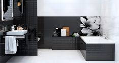 modern bathroom Creative Black and White Bathroom Ideas Black White Bathrooms, Color Negra, Modern Bathroom, Bathroom Ideas, Living Spaces, Contemporary, Black And White, Interior Design, Mirror