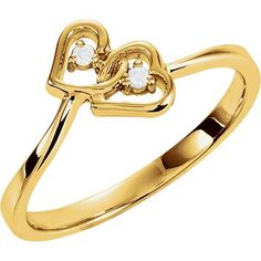 14k Gold Diamond Double 2-Stone Heart Promise Ring - White, Rose or Yellow