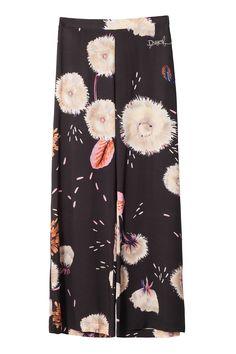 Un regalo di un'eleganza unica, pantaloni neri Desigual con una stampa floreale ed elastico in vita.