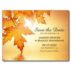 A fall wedding save the date postcard with a beautiful orange autumn leaves design.