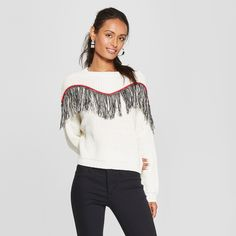 37c50a073ab Women s Long Sleeve Fringe Trim Pullover Sweater - 3Hearts (Juniors ) Ivory  XL.