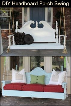 DIY Porch Swing Featuring a Repurposed Headboard! Did you know that you can use an old headboard to make a porch swing? Learn how to do it here! Farmhouse Porch Swings, Porch Bed, Diy Porch, Old Headboard, Headboard Benches, Headboards, Furniture Makeover, Diy Furniture, White Furniture