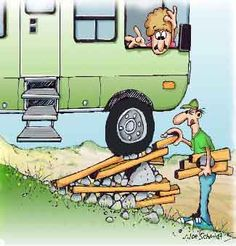 cartoon, illustration  drawing  jokes gags leveler leveling, rocks, RVs, motorhomes, recreational vehicles, hills, level, by hand, cartoons, funny, gags, humor, jokes, humorous, RV, class A,  Joe Schmidt, level  bricks boards cartoons