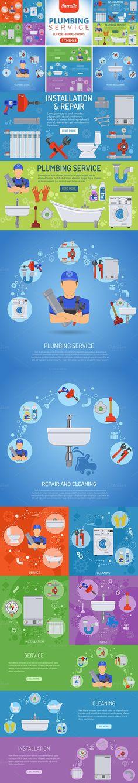 Plumbing Service Themes. Brochure Infographic. $15.00