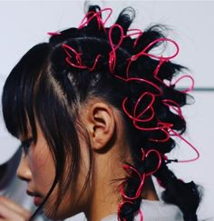 This season we're revisiting our childhood hairstyles with Troll dolls and neon hair ties - Nostalgia: Why 2018 Was the Year of the Nineties - Rolling . Hair Inspo, Hair Inspiration, Character Inspiration, Hair Art, Your Hair, Inspo Cheveux, Models Backstage, Neon Hair, Editorial Hair