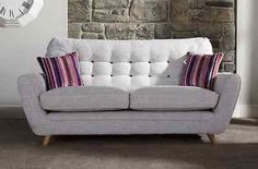 New Ex-Display 3 seater Fabric Sofa House of Fraser neutral silver grey