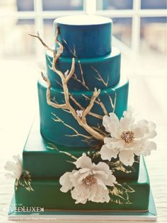 Loving the modern elegance and use of color in this cake.  A definite piece of art. #destinationweddings #beachweddings #PBdestweddings