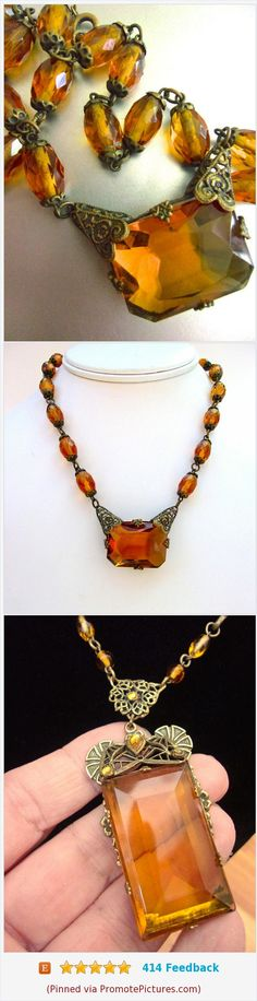 Art Deco CZECH Amber Glass Necklace, Filigree, Brass, Signed Vintage #necklace #czech #glass #amber #brass #artdeco #filigree #vintage https://www.etsy.com/renaissancefair/listing/562283945/art-deco-czech-amber-glass-necklace?ref=listings_manager_grid  (Pinned using https://PromotePictures.com)