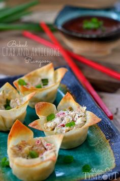Baked Crab and Artichoke Rangoon are an amazingly creamy and savory appetizer! Wonton cups are filled with cream cheese, marinated artichoke hearts and crab and baked to perfection. // Mom On Timeout Finger Food Appetizers, Yummy Appetizers, Appetizers For Party, Finger Foods, Appetizer Recipes, Party Snacks, Mini Foods, Appetisers, I Love Food