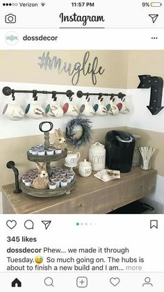 Love the for my coffee bar wall. Coffee Area, Coffee Center, Coffee Nook, Coffee Wine, My Coffee, Coffe Bar, Coffee Mug Display, Coffee Bar Signs, Coffee Bar Station