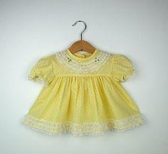 little dresses Vintage Baby Dresses, Vintage Baby Clothes, Pastel Yellow, Little Dresses, Vintage Designs, Lace Trim, Dress Skirt, Memories, Summer Dresses
