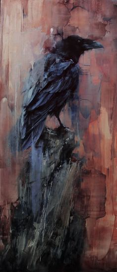 Artist: Lindsey Kustusch The lookout - Painting Crow Art, Raven Art, Bird Art, Crow Pictures, Crow Painting, Graffiti Murals, Arte Horror, Bird Drawings, Animal Paintings