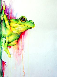 Froggy Watercolor and Prismacolor Pencil by DouceArtifice on Etsy, $18.00