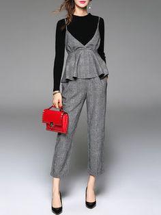 31db628db9 Three Pieces Gray Simple Plain Polyester Jumpsuit