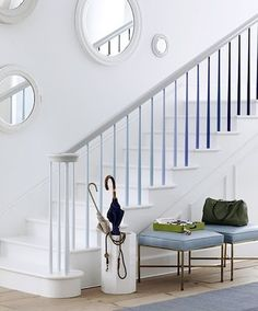 We all know it's possible to paint treads and risers, but have you ever thought about adding color to spindles? Follow the example here and beautify your balusters by painting them in graduating tones. The key is sticking to a single hue so that it still looks grown-up.