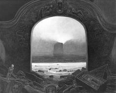 Zdzisław Beksiński black & white image of a painting