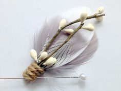 COHEN Feather Boutonniere in Grey and White with by PompAndPlumage