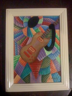 'Girl with guitar,' another in the modern cubist series.
