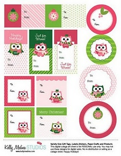 Christmas Owl Gift Tags Freebie.  I'm not a big owl fan, but I do love pink and green, so...