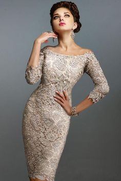 2018 Mother Off Bride Dresses Scoop Full Lace 3/4 Long Sleeves Knee Length Sheath Plus Size Mother Of The Bride Dress 2018 from haiyan4419, $119.6 | DHgate Mobile