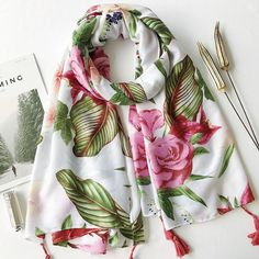 Floral print tassel hijab