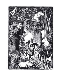 Muumi juliste Keinutuoli metsässä, 24x30cm Lastenhuone metsä juliste printti taulu mustavalkoinen