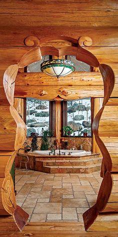 Gorgeous log home bath