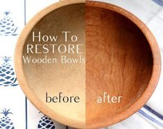 How To Restore Wooden Bowls-good to know if we find more at thrift stores or yard sales #Woodenbowls